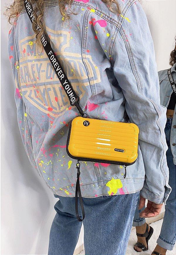 Mini Bag Influencer Bolsa Transversal Pequena Amarela B007