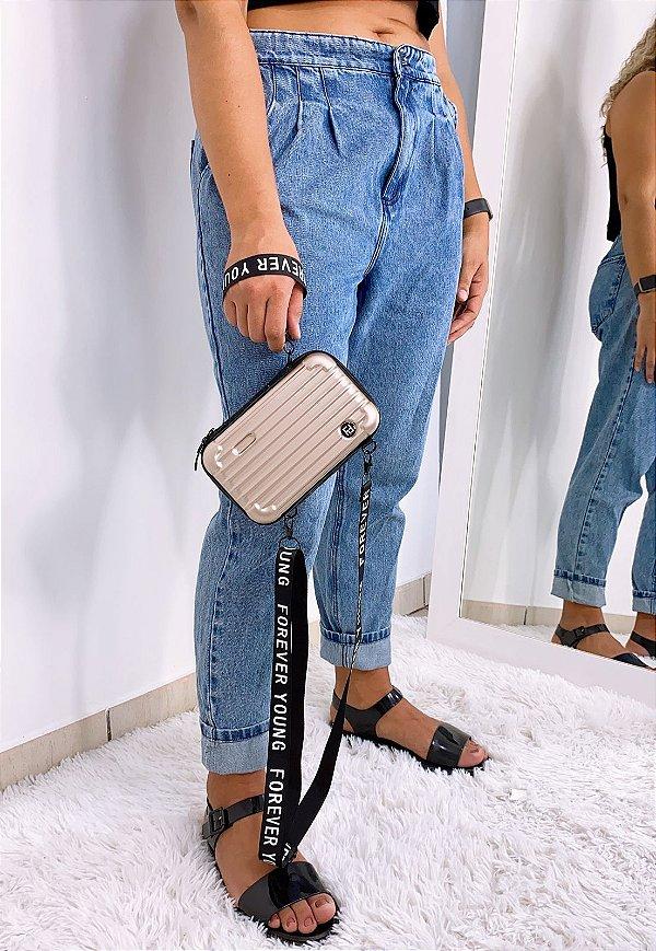 Mini Bag Influencer Bolsa Transversal Pequena Dourada B007