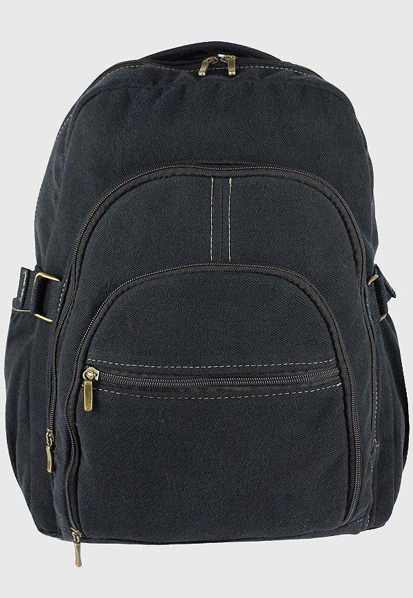 Mochila Jeans Escolar Grande Preta L083