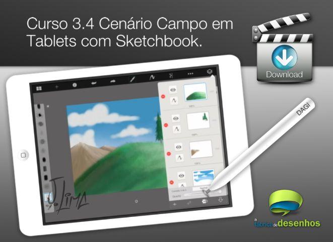Curso 3. Aula 4 - Cenário Campo em Tablet com Sketchbook (entrega via Download)