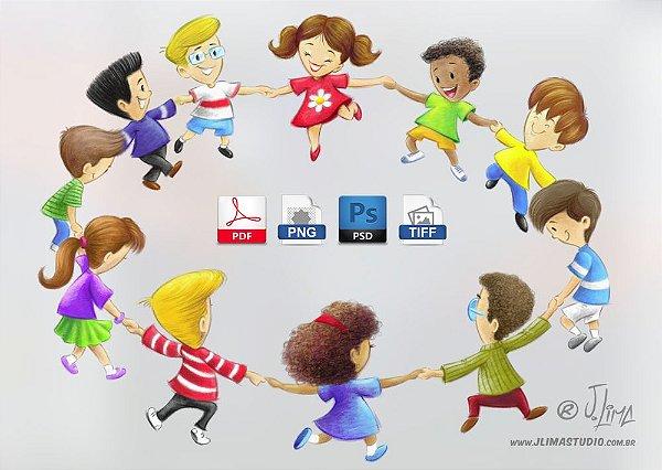 Roda Crianças lápis de cor (300 dpi em PNG, PDF e PSD) entrega via Download