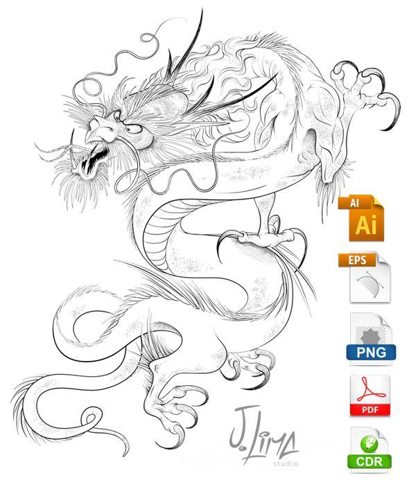 Dragão Chines desenho em Vetor