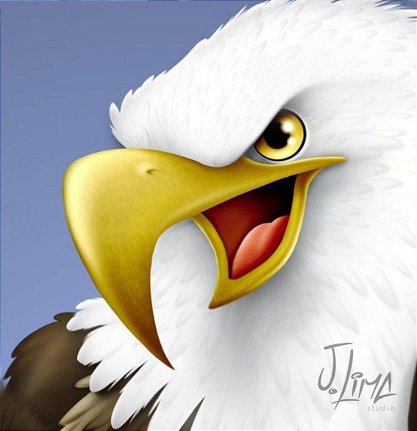 Águia colorida em 3D (imagem em Photoshop, camadas, PNG sem fundo, Jpeg e Tiff)