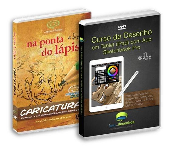 Pacote com 2 DVDs: Desenhos de Caricaturas + Desenho e Pintura digital em Tablets