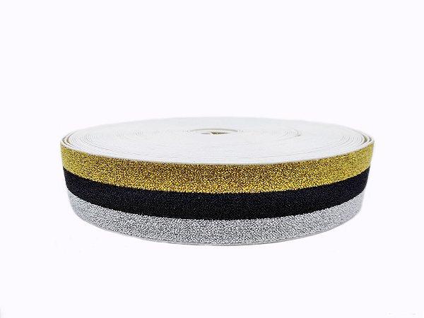Elástico chato com brilho - 40mm (bolacha c/20mts)