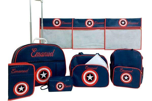 Kit Mala Maternidade e Acessórios Capitão América Personalizado