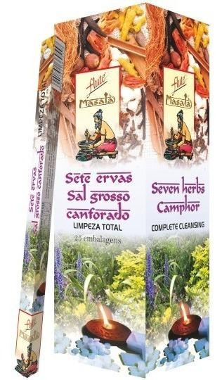 Incenso Natural Flute Massala Sete Ervas com Sal Grosso Canforado