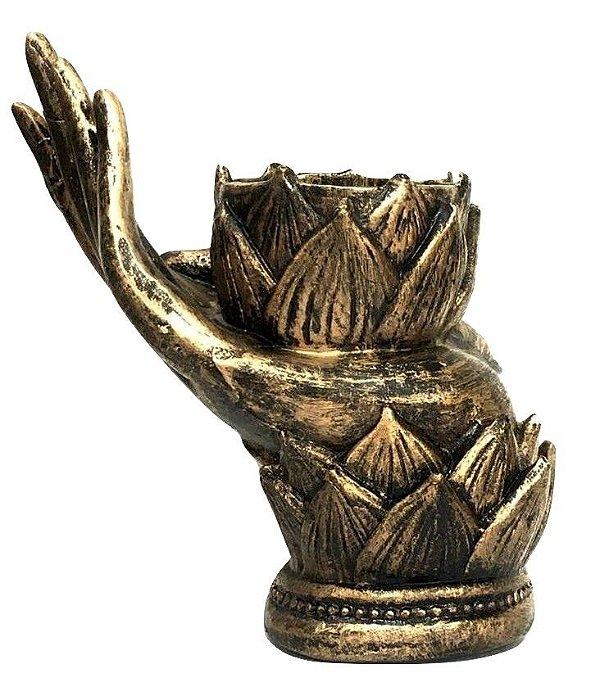 Porta Incenso Flor de Lotus Mão Resina