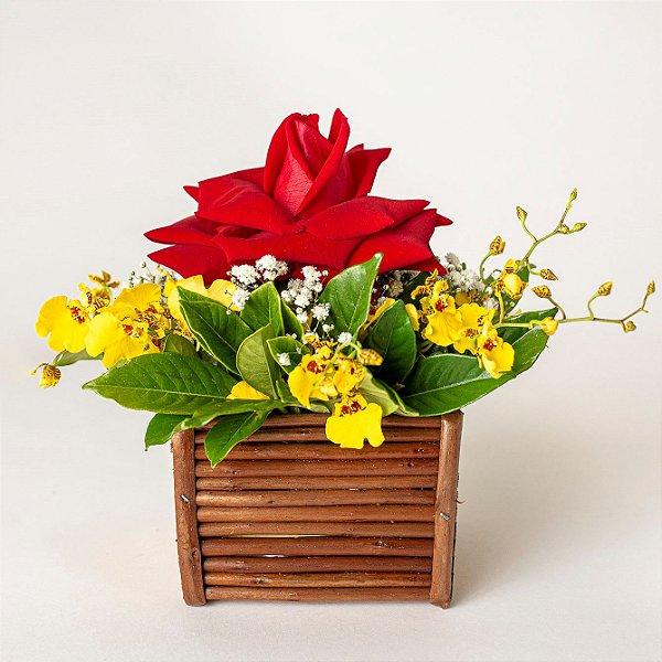 Mini Cachepô de Bambu com Rosas Vermelhas e Flores diversas