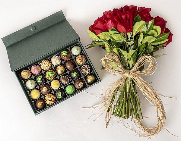 Bouquet de Rosas Vermelhas com Doces finos sortidos