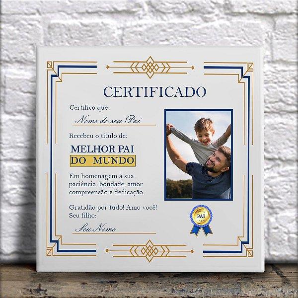 Azulejo Certificado de Melhor Pai