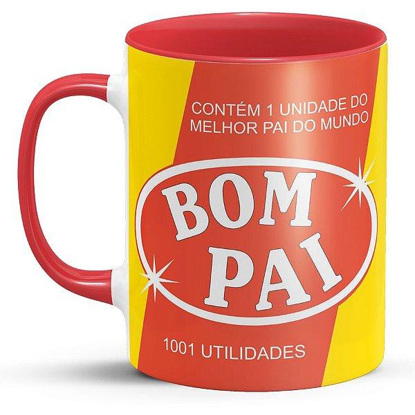 Caneca de Porcelana com Foto Bom Pai 1001 Utilidades
