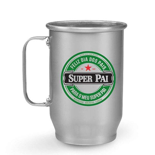 Caneca de Chopp de Alumínio 400 ml Dia dos Pais - Super Pai - Heineken