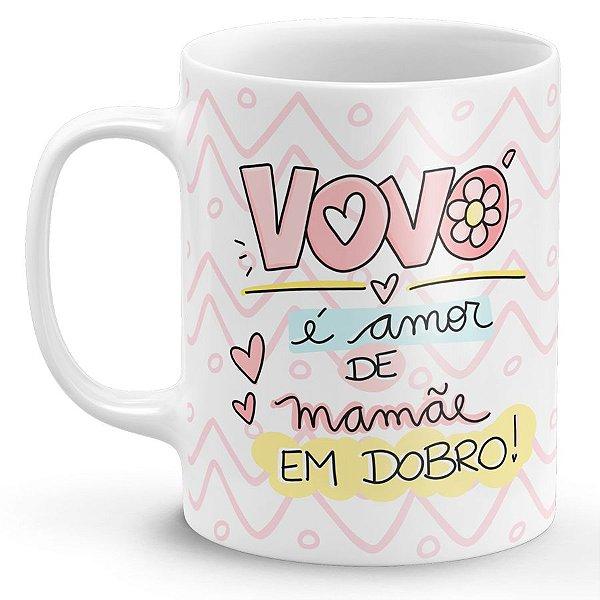 Caneca de Porcelana Dia dos Avós - Vovó é Amor de Mamãe em Dobro
