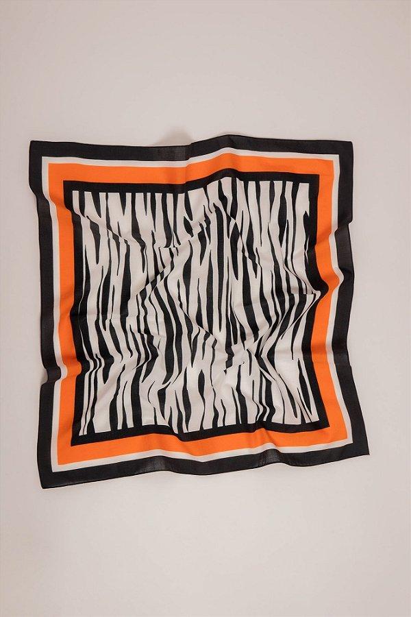 lenço quadrado em voil de algodão zebrado pb