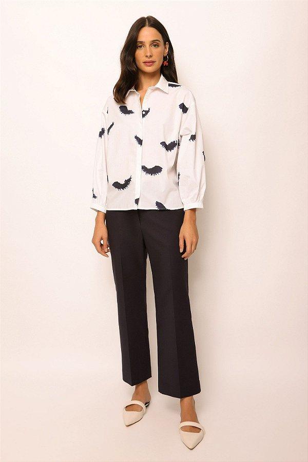camisa de tricoline manga bufante cílios