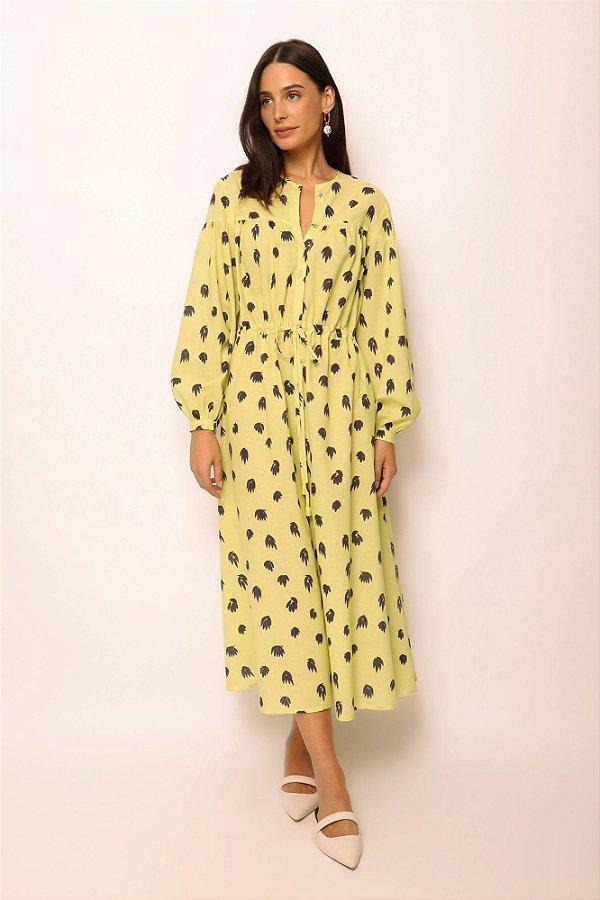 vestido pala ombro de voil folhas lima