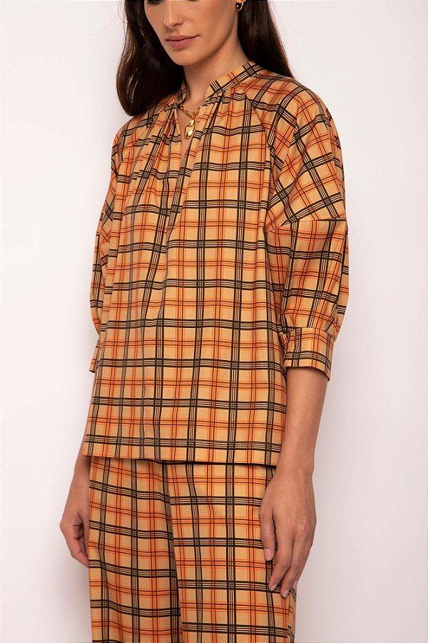 blusa decote v xadrez khaki