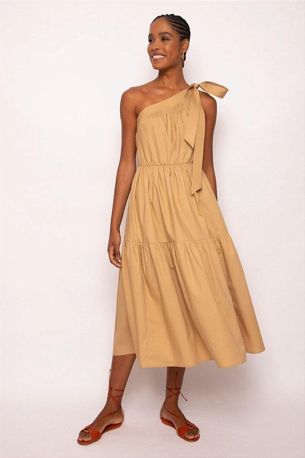 vestido ombro único franzido khaki
