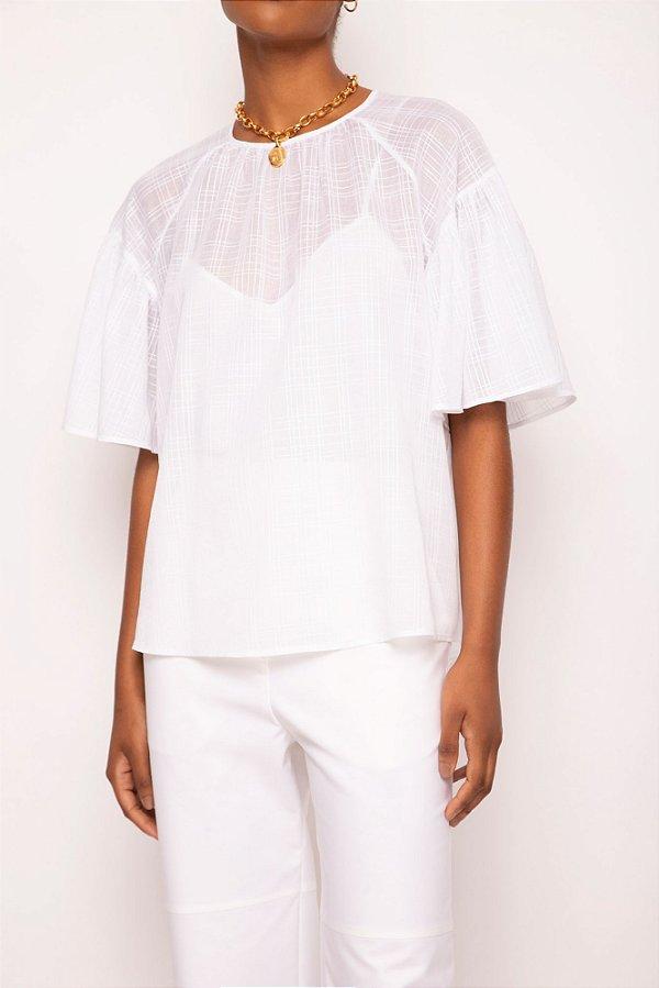 blusa manga franzida branco