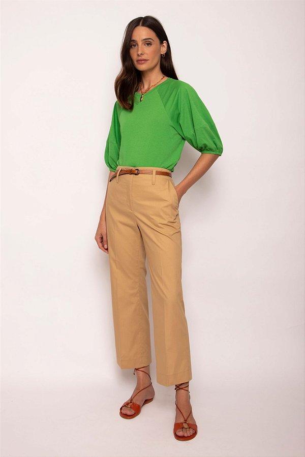 blusa malha manga bufante verde