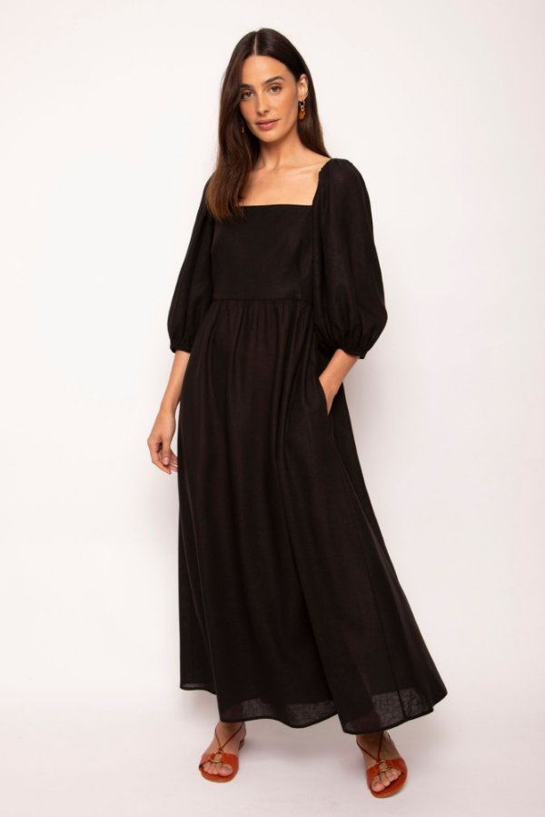 vestido manga bufante preto