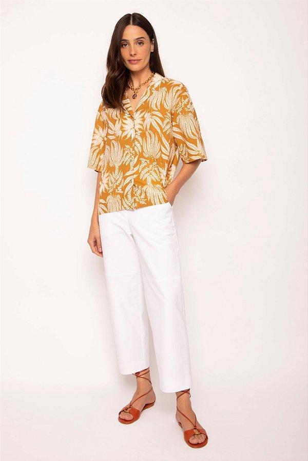 camisa box gola cubana samambaia branca