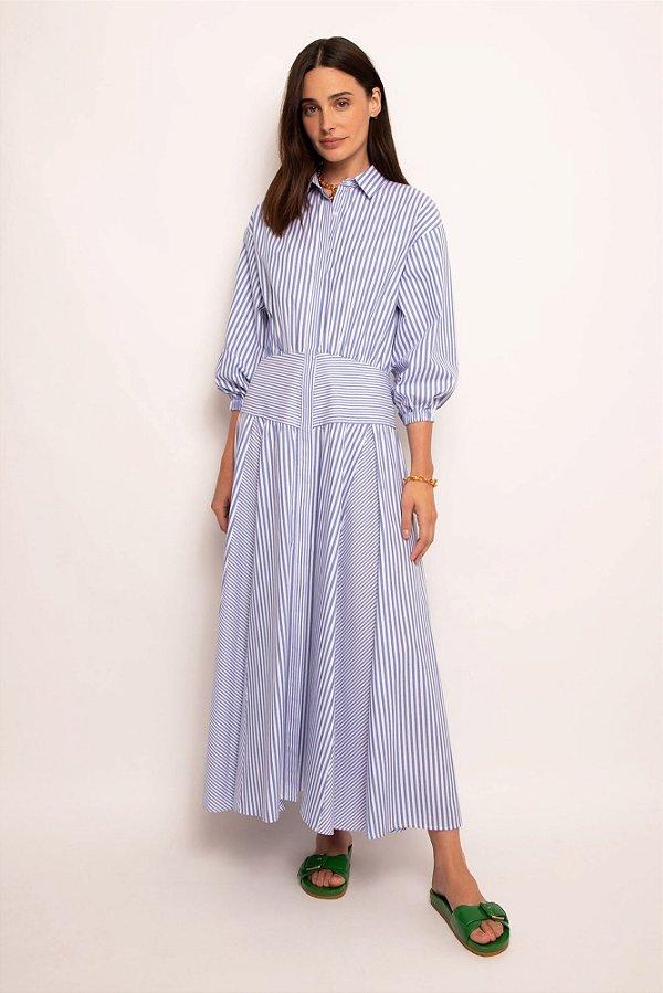 vestido pala listras azul