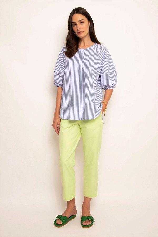 camisa manga curta bufante listras azul