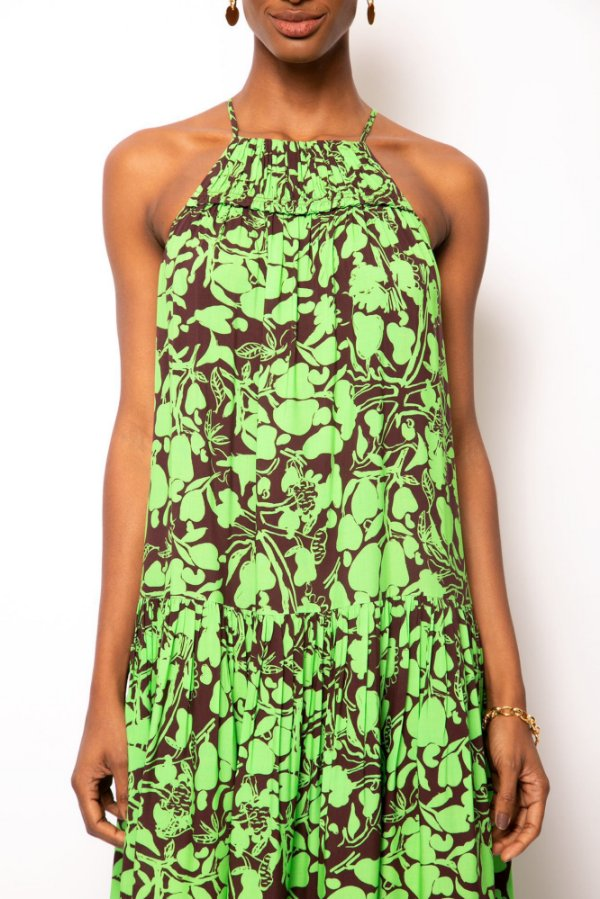 vestido longo franzido caju verde