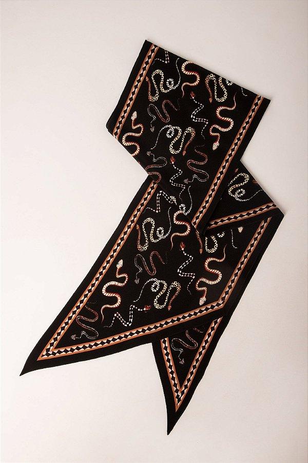Lenço gravata estampado cobra