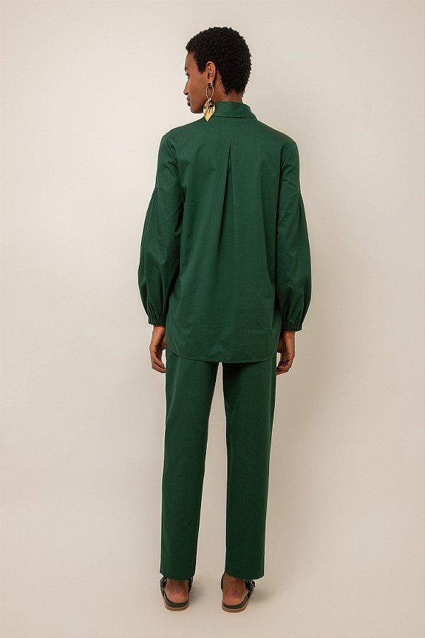 Camisa de algodão manga franzida - VERDE GARRAFA
