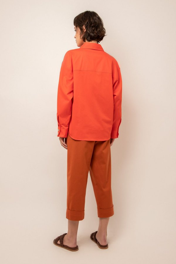 Camisa ampla com bolsos de algodão tangerina