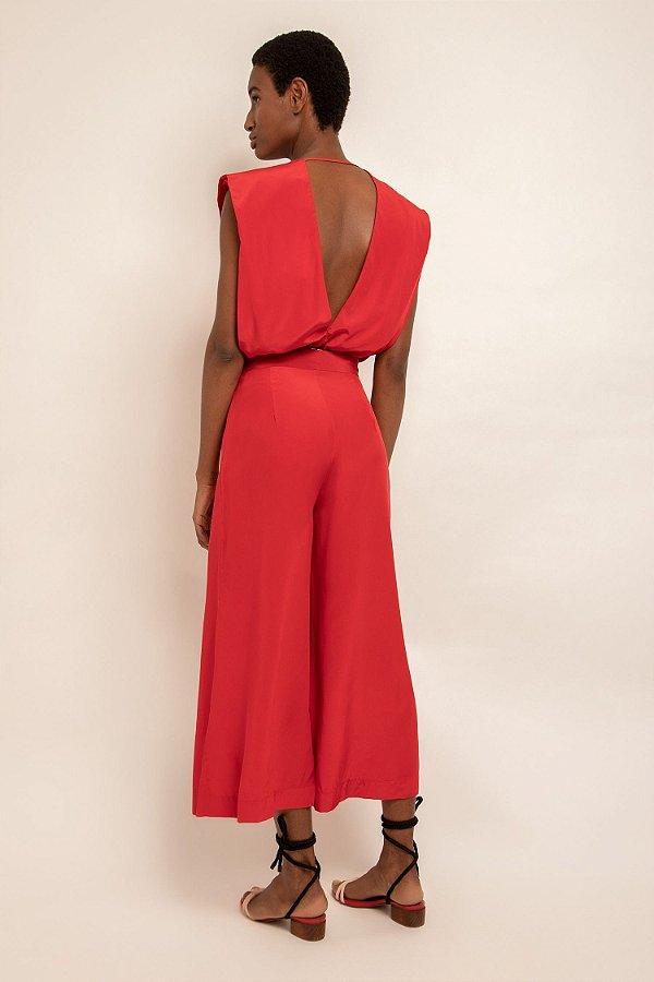 Calça cropped vermelho