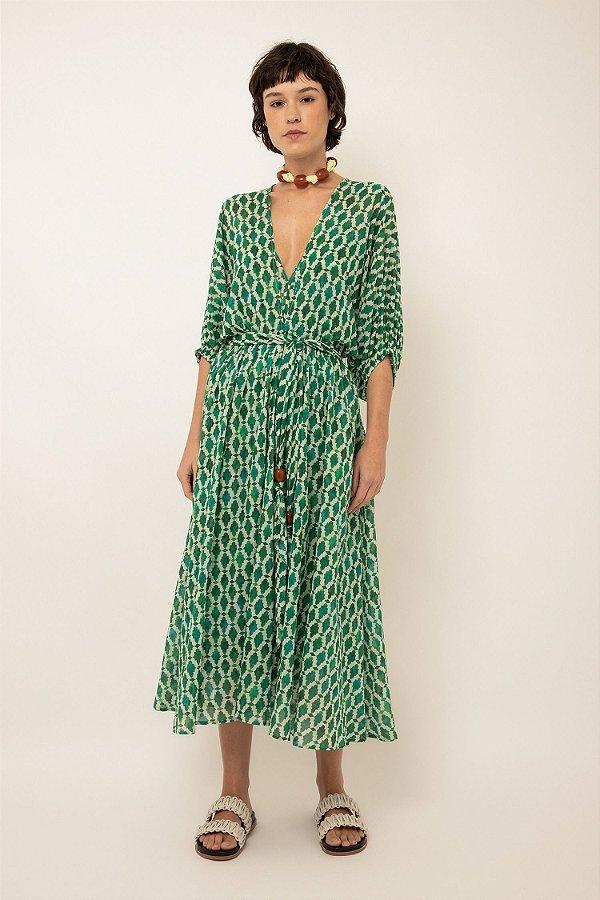 Vestido de algodão midi estampado decote v - MOSAICO