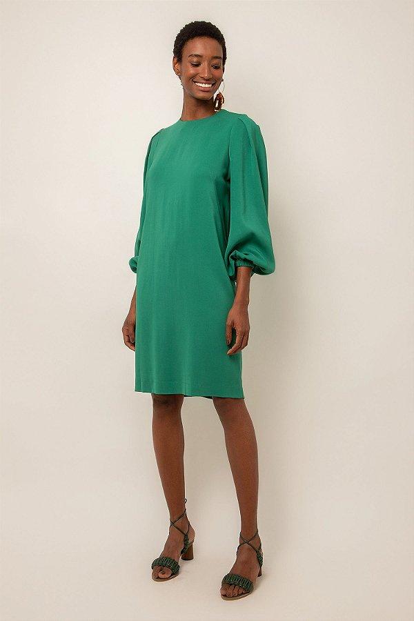 Vestido de crepe curto verde esmeralda