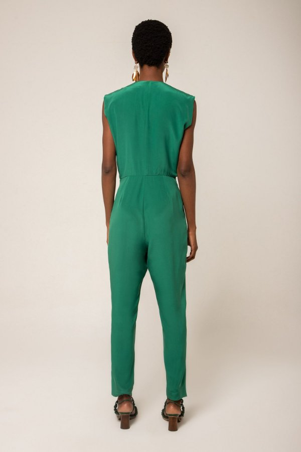 Macacão longo de seda verde esmeralda