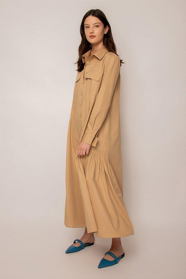 vestido chemise com bolso de algodão - KHAKI