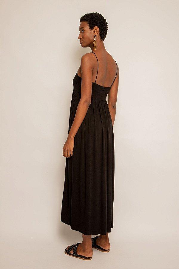 Vestido de viscose midi decote reto preto