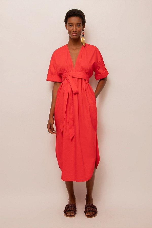Vestido de tricoline midi decote v vermelho