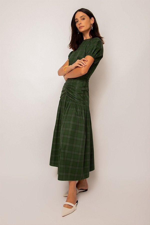 vestido com pala franzida de algodão xadrez verde