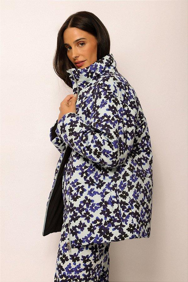 casaco matelassê de algodão flores azul