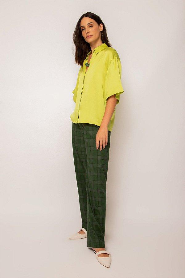 camisa de cetim box limão