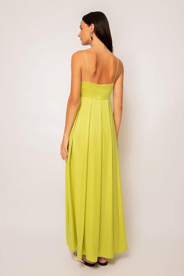 vestido de cetim longo com pregas limão
