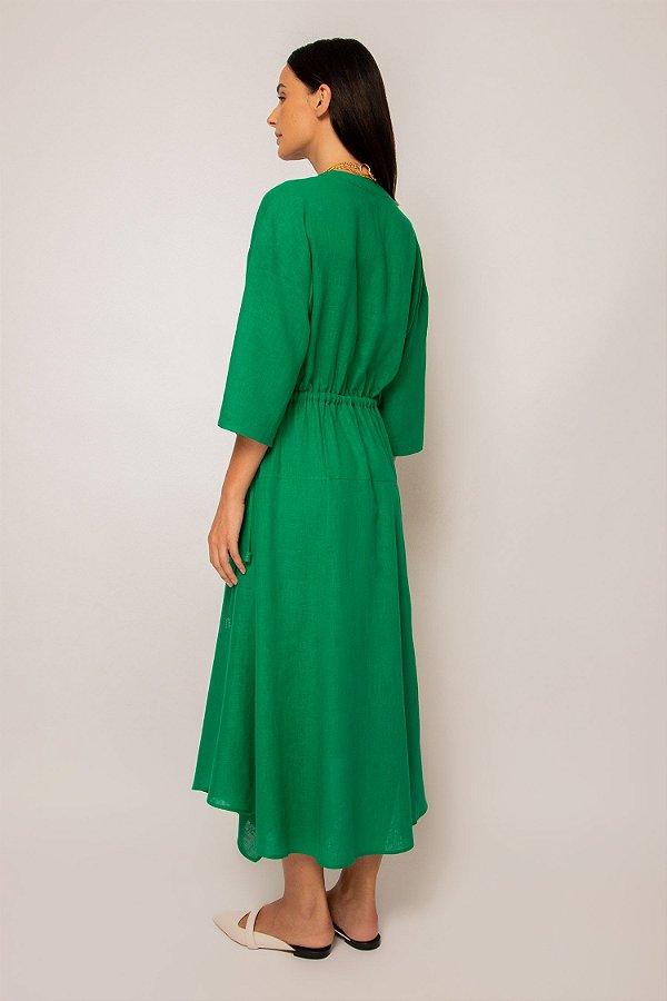 vestido de linho misto pontas verde