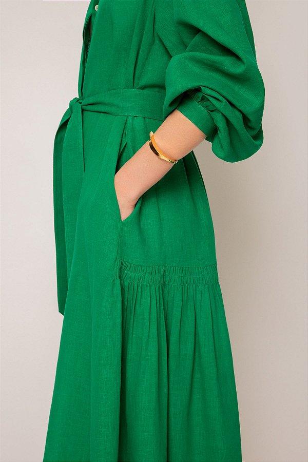 vestido de linho misto nesga lateral verde - VERDE