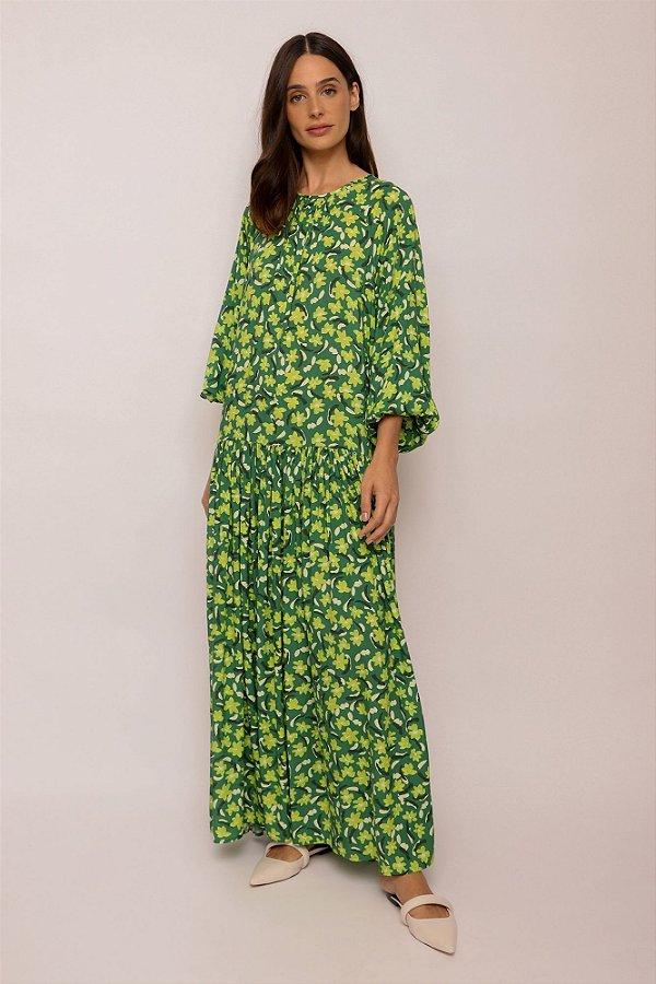 vestido longo amplo franzido jardim