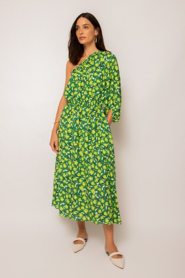 vestido ombro único franzido jardim