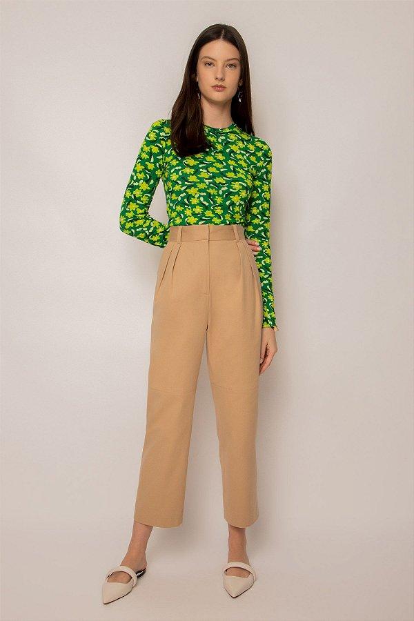 blusa de malha manga longa jardim