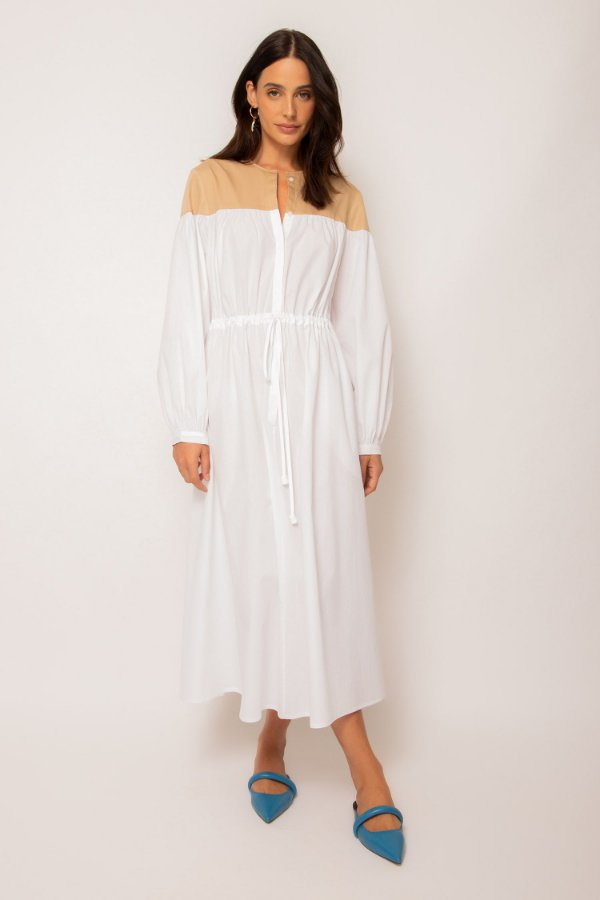 vestido de tricoline pala ombro branco